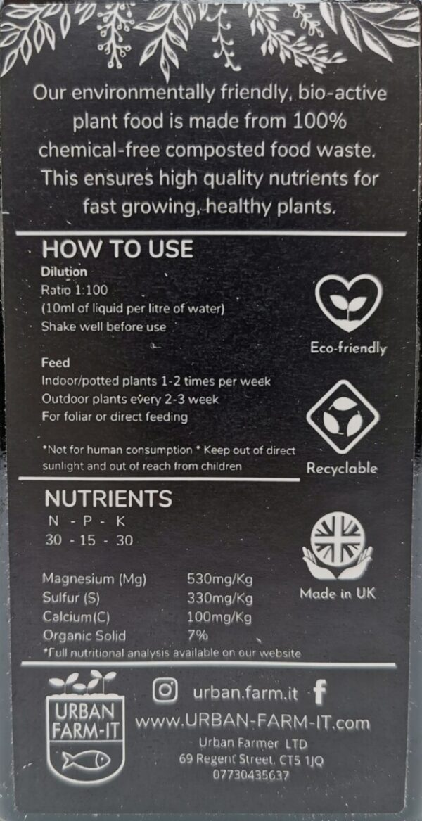 Instructions for using plant food